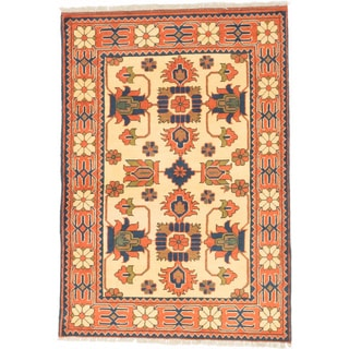 ecarpetgallery Finest Kargahi Yellow/ Brown Wool Rug (3'5 x 4'11)
