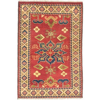 ecarpetgallery Finest Kargahi Dark Red Wool Rug (3'5 x 5')