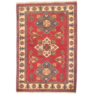 ecarpetgallery Finest Kargahi Red/ Yellow Wool Rug (3'5 x 5')
