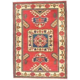 ecarpetgallery Finest Kargahi Red/ Yellow Wool Rug (3'5 x 4'11)