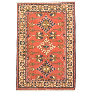 ecarpetgallery Finest Kargahi Yellow/ Brown Wool Rug (3'5 x 5'1)