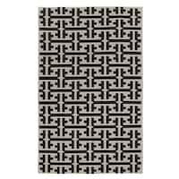 Genevieve Gorder Grecian Rectangle Deep Grey Flat Woven Rug (8' x 11') - 8' x 11'