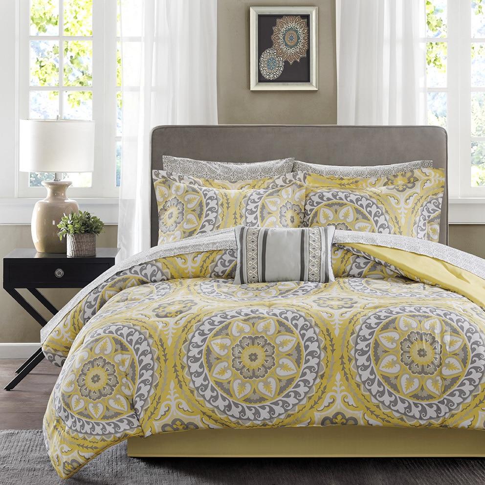 Palm Canyon Antigua Savanah Yellow Complete Comforter and Cotton Sheet Set