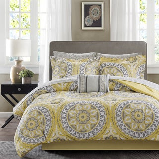 Madison Park Essentials Savanah Yellow Complete Comforter and Cotton Sheet Set
