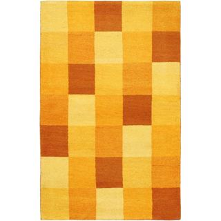 ecarpetgallery Indian Gabbeh Yellow Wool Rug (3'10 x 5'11)