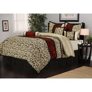 Nanshing Bella Jacquard Red/Beige/Black 7-piece Comforter Set