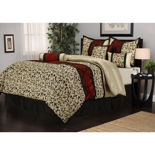 Nanshing Bella Jacquard Red/Beige/Black 7-piece Comforter Set