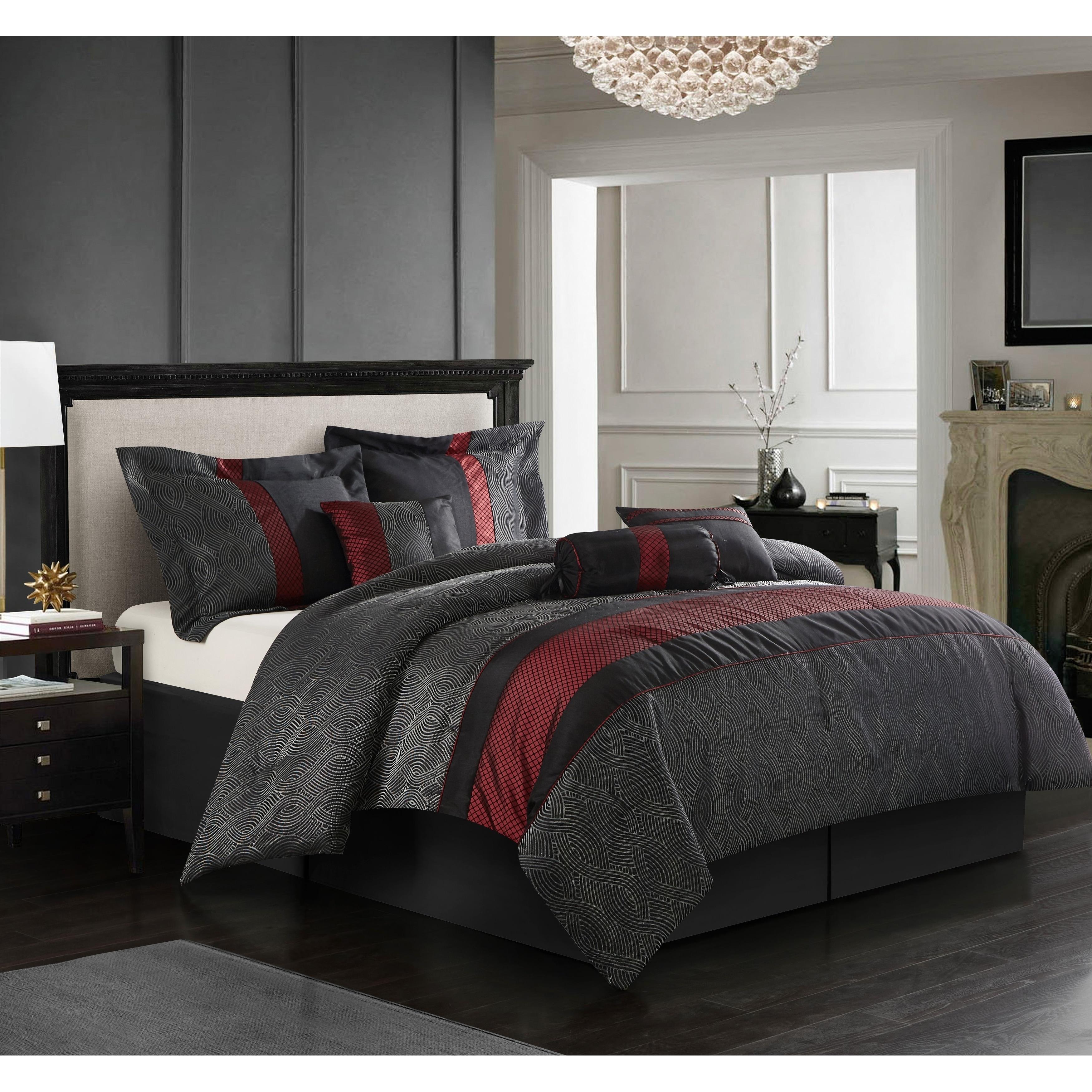 Shop Grand Avenue Ester Red Black 7 Piece Comforter Set On Sale