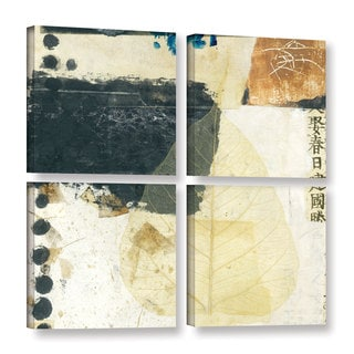 ArtWall Elena Ray 'Wabi-Sabi Bodhi Leaf Collage 2' 4 Piece Gallery-wrapped Canvas Square Set
