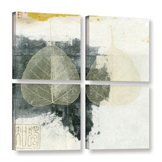 ArtWall Elena Ray 'Wabi-Sabi Bodhi Leaf Collage 4' 4 Piece Gallery-wrapped Canvas Square Set