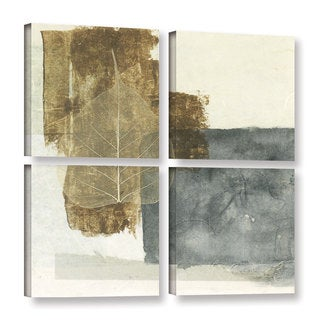 ArtWall Elena Ray 'Wabi-Sabi Bodhi Leaf Collage 5' 4 Piece Gallery-wrapped Canvas Square Set
