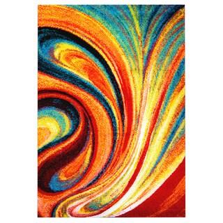 Porch & Den Hampden Crowther Orange Swirl Area Rug (7'10 x 10'2)