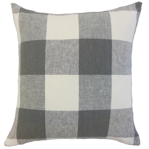 Amory Grey Plaid Down and Feather-filled 18-inch Throw Pillow. Opens flyout.