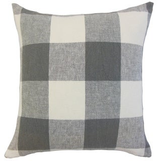 Amory Grey Plaid Down and Feather-filled 18-inch Throw Pillow