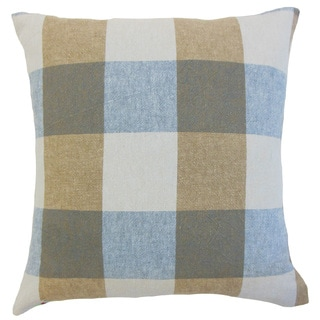 Amory Blue/ Brown Plaid Down and Feather-filled 18-inch Throw Pillow