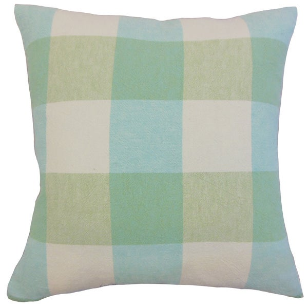 Amory Blue/ Green Plaid Down and Feather-filled 18-inch Throw Pillow