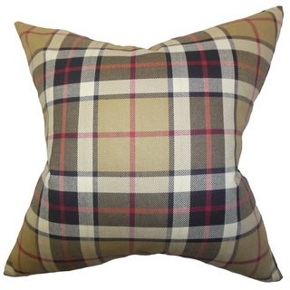 Obert Plaid Down and Feather-filled 18-inch Throw Pillow