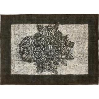 Distressed Otabek Black Hand-Knotted Rug, (7'10 x 10'3)