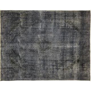 Distressed Soroush Blue Hand-Knotted Rug, (9'8 x 12'2)