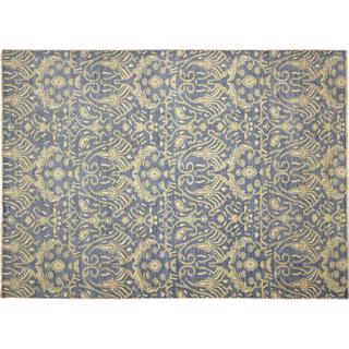 Fine Oushak Muattar Blue Hand-knotted Rug, (10'0 x 14'0)