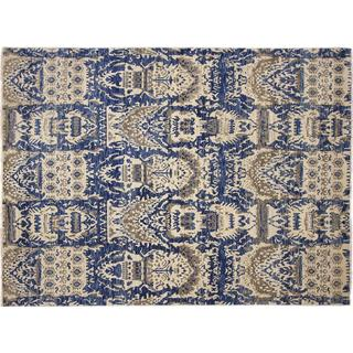 Ikat Muattarbonu Blue Hand-knotted Rug, (8'10 x 12'0)
