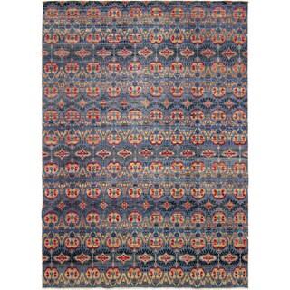Fine Oushak Munisa Blue Hand-knotted Rug, (10'0 x 14'0)