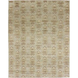 Fine Oushak Ohrmazd Green Hand-knotted Rug, (8'0 x 10'1)