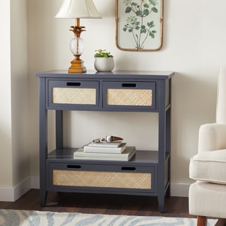 Abbyson Robins Antiqued Console Sofa Table, Charcoal Blue