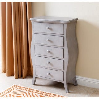 Abbyson Belvedere Antiqued 5 Drawer Small Chest, Grey