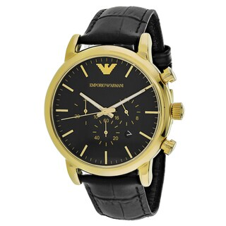 Emporio Armani Men's AR1917 Dress Round Black Leather Strap Watch