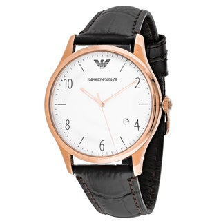 Emporio Armani Men's AR1915 Classic Round Brown Leather Strap Watch