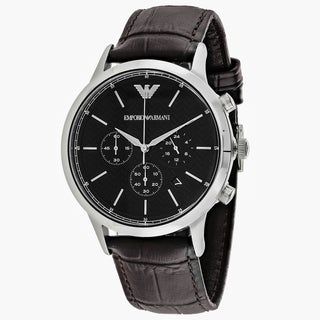 Emporio Armani Men's AR2482 Classic Round Brown Leather Strap Watch