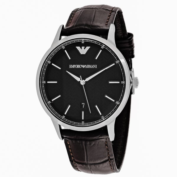 218133fb5 Shop Emporio Armani Men's AR2480 Classic Round Brown Leather Strap Watch -  Free Shipping Today - Overstock - 11097280
