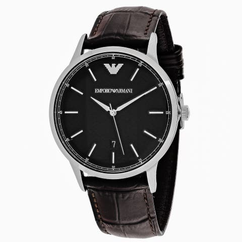 Emporio Armani Men's AR2480 Classic Round Brown Leather Strap Watch