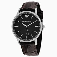 Emporio Armani Men's AR2480 Classic Round Brown Leather Strap Watch