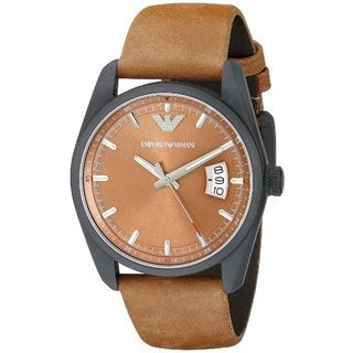 Emporio Armani Men's AR6080 Sportivo Round Brown Leather Strap Watch