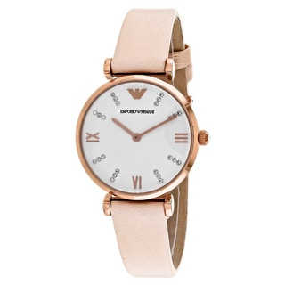 Emporio Armani Women's AR1927 Retro Round Pink Leather Strap Watch
