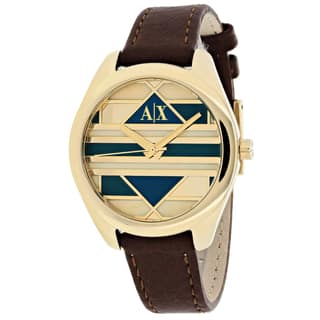 Armani Exchange Women's AX5524 Serena Round Brown Leather Strap Watch https://ak1.ostkcdn.com/images/products/11097306/P18102845.jpg?impolicy=medium