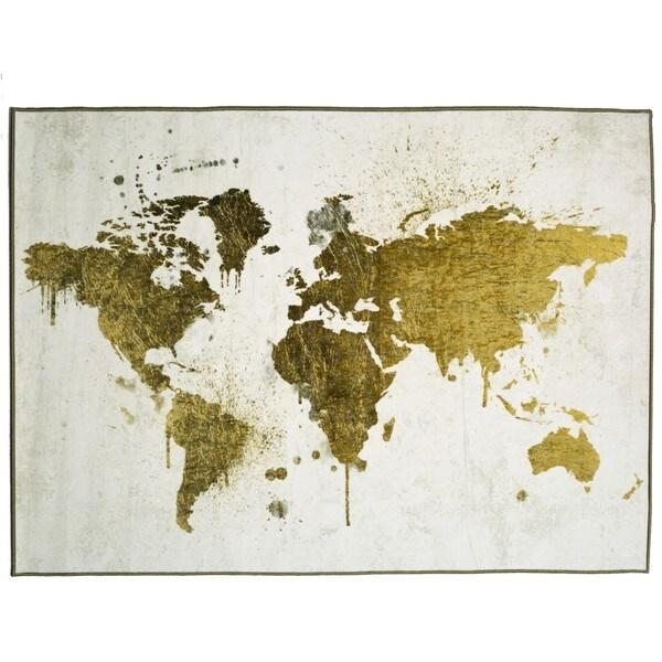 Oliver Gal Mapamundi White Gold Rug Multi