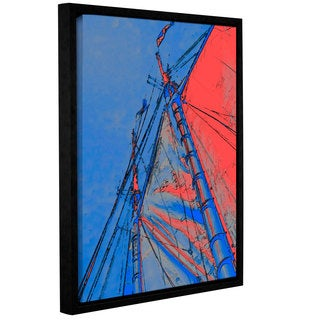 ArtWall Linda Parker 'Red Sails At Sea' Gallery-wrapped Floater-framed Canvas