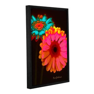 ArtWall Linda Parker 'Two Gerberas At Night' Gallery-wrapped Floater-framed Canvas