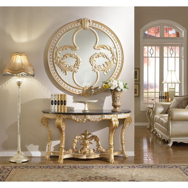 Elegant Meridian Furniture Versailles Marble Top Console Table And Mirror Set