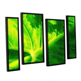 ArtWall Sydney Schardt's Green On Green, 4 Piece Floater Framed Canvas Staggered Set