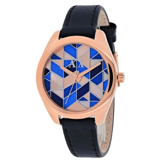 Armani Exchange Women's AX5525 Serena Round Blue Leather Strap Watch