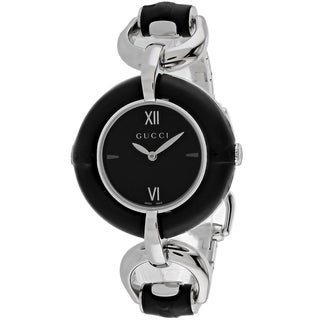 Gucci Women's YA132405 Bamboo Round Silver-tone Stainless Steel Bracelet Watch - Black