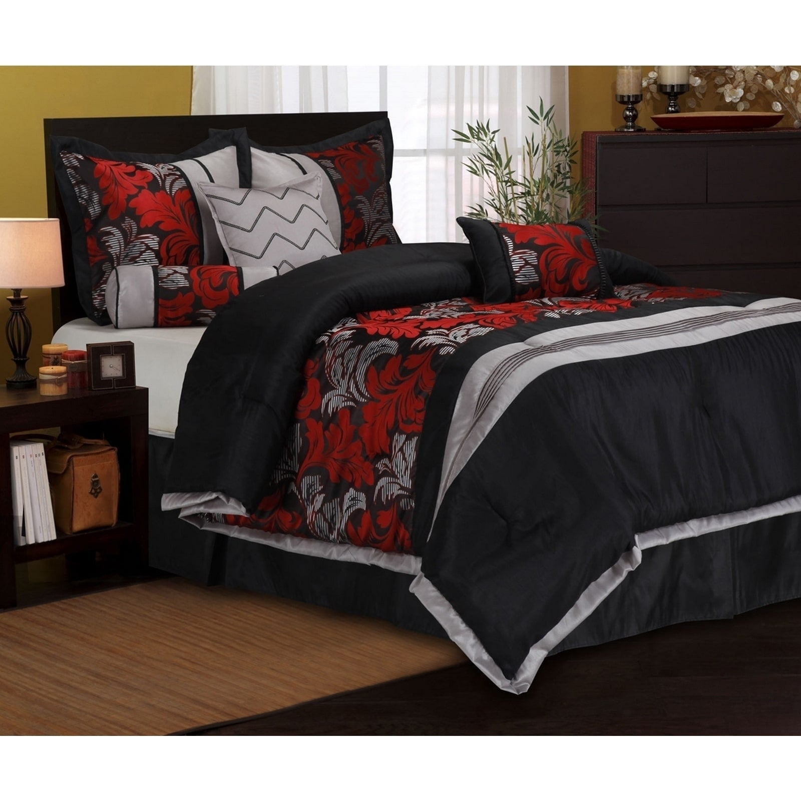 Lincoln Embroidered Red Black 7 Piece Comforter Set Ebay