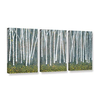 ArtWall Herb Dickinson's Autumn Birch, 3 Piece Gallery Wrapped Canvas Set