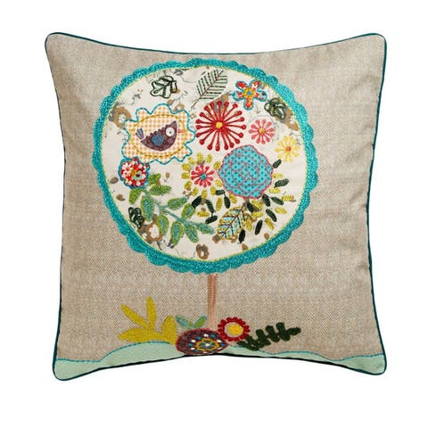 Cottage Home Tree Cotton 18 Inch Throw Pillow