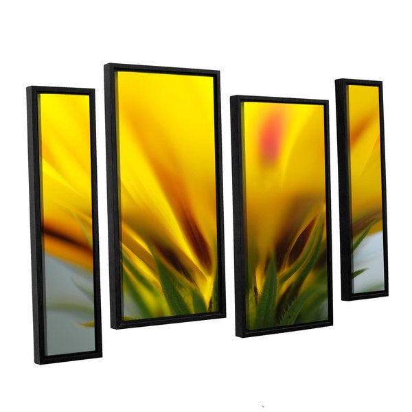 ArtWall Sydney Schardt's Mexican Daisy, 4 Piece Floater Framed Canvas Staggered Set