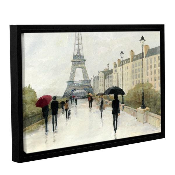 40 x 59 Eiffel in the Rain Marsala Umbrella Fine Art